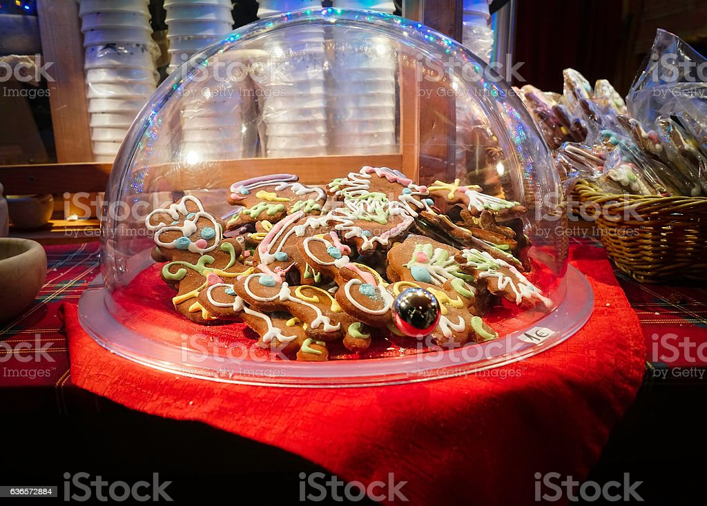 Spiced cookies gingerbread plate on the Christmas market stock photo