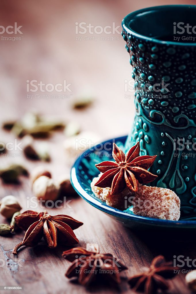 Spiced drink in authentic armudu glasses stock photo