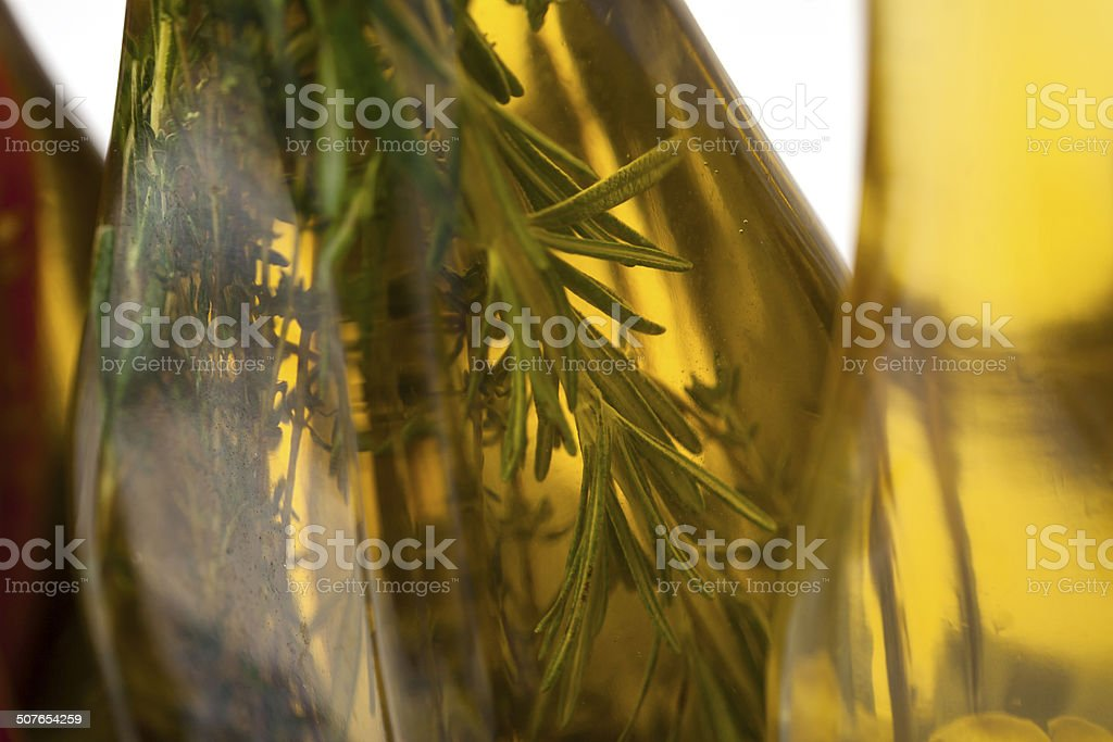 spiced extra virgin olive oil stock photo