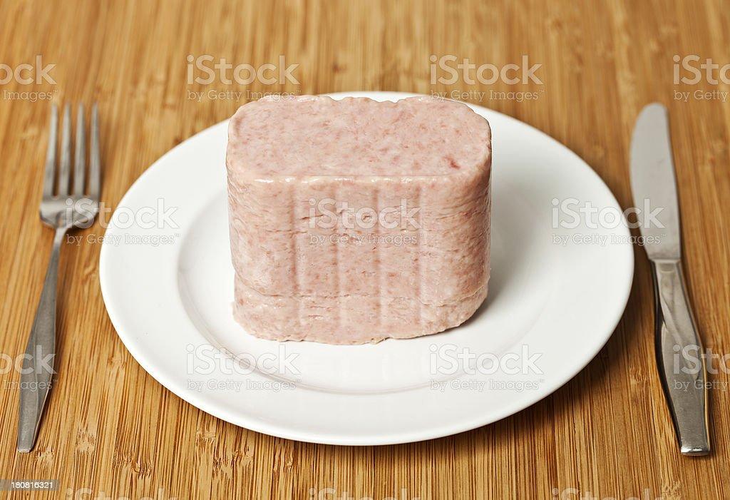 Spiced Ham On A Dinner Plate stock photo