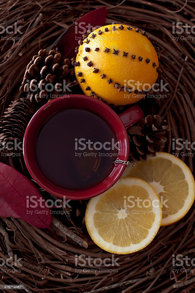 spiced pomander orange tea stock photo