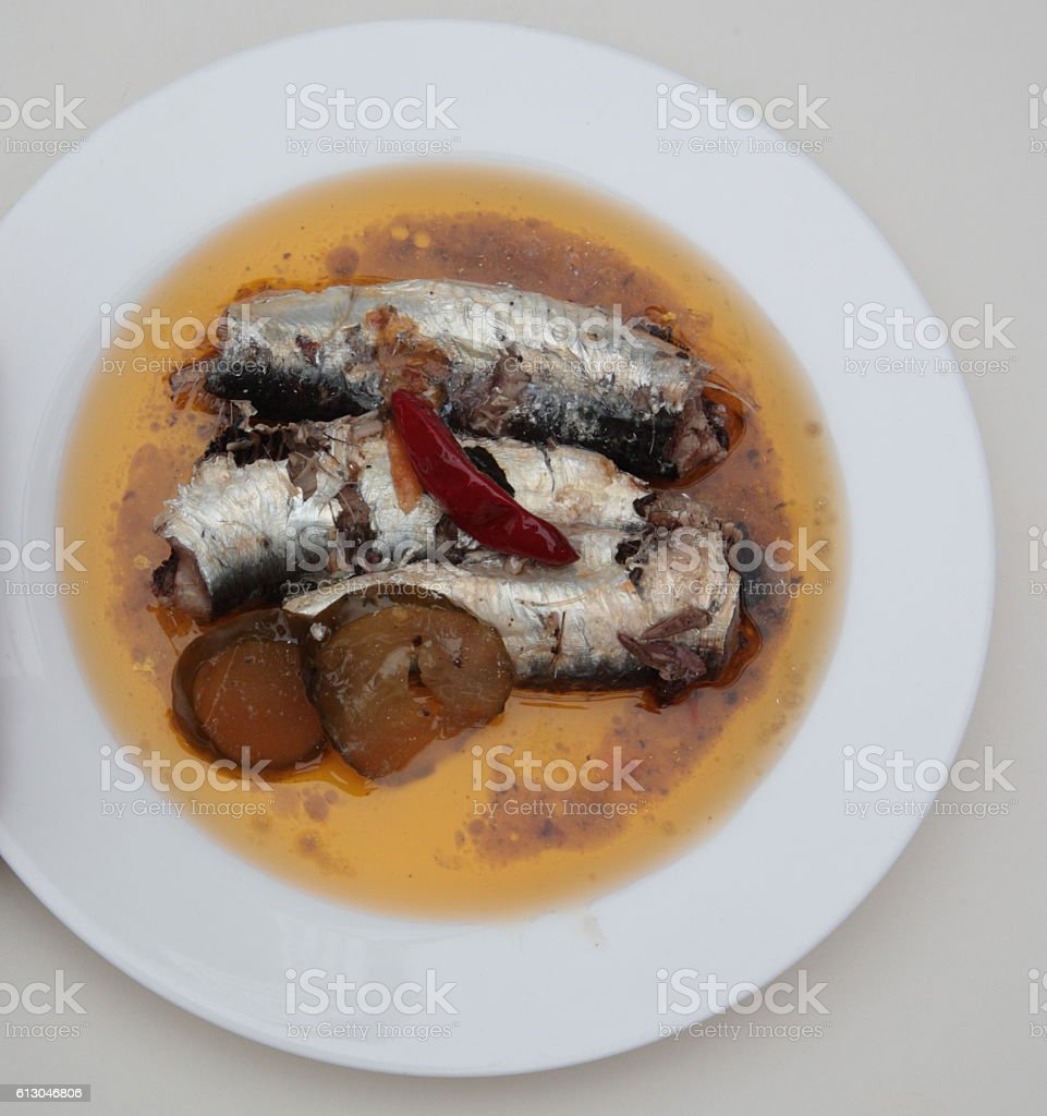 Spiced portuguese sardines in olive oil stock photo