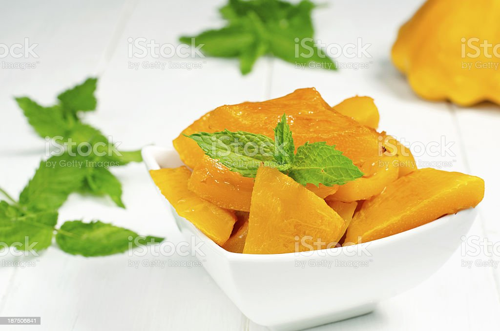 Spiced pumpkin in a white bowl royalty-free stock photo