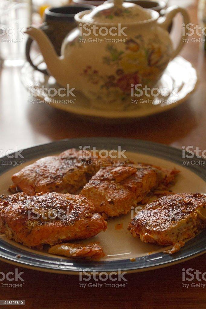 Spiced Salmon and Tea stock photo