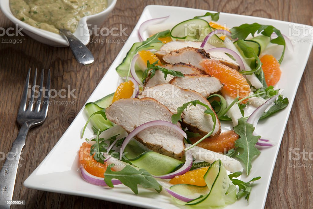 Spiced-Rubbed Turkey Breast with Salad stock photo