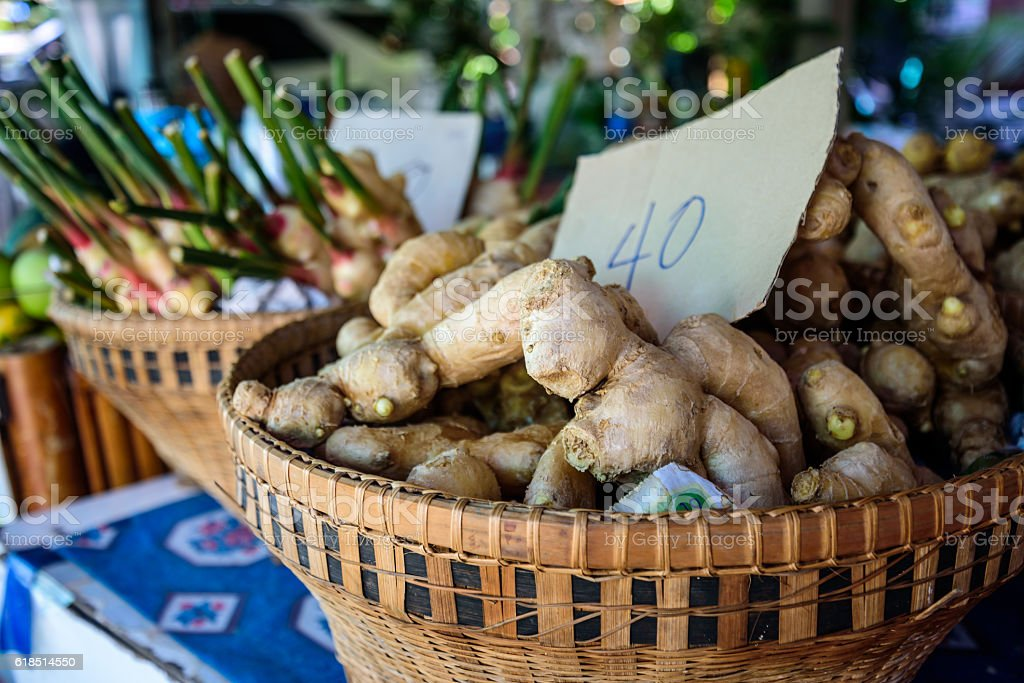 Spicery on stall situated at fresh food marketplace in  Thailand stock photo