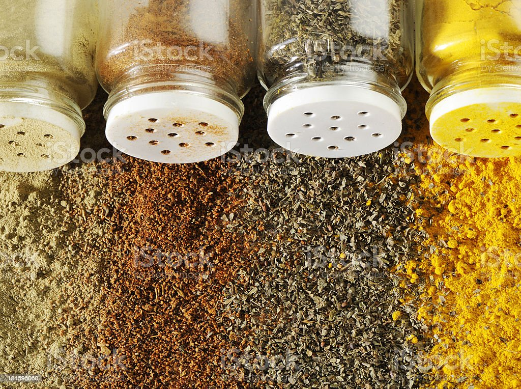 Spices and bottles stock photo