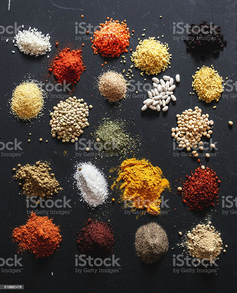 Spices and cereals stock photo