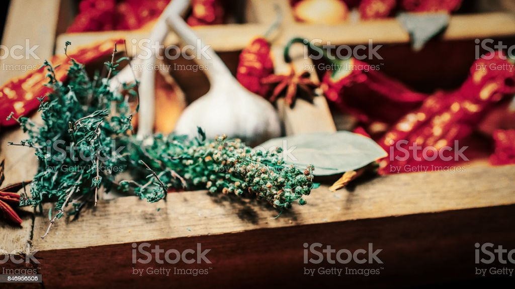 Spices and condiments close up background stock photo