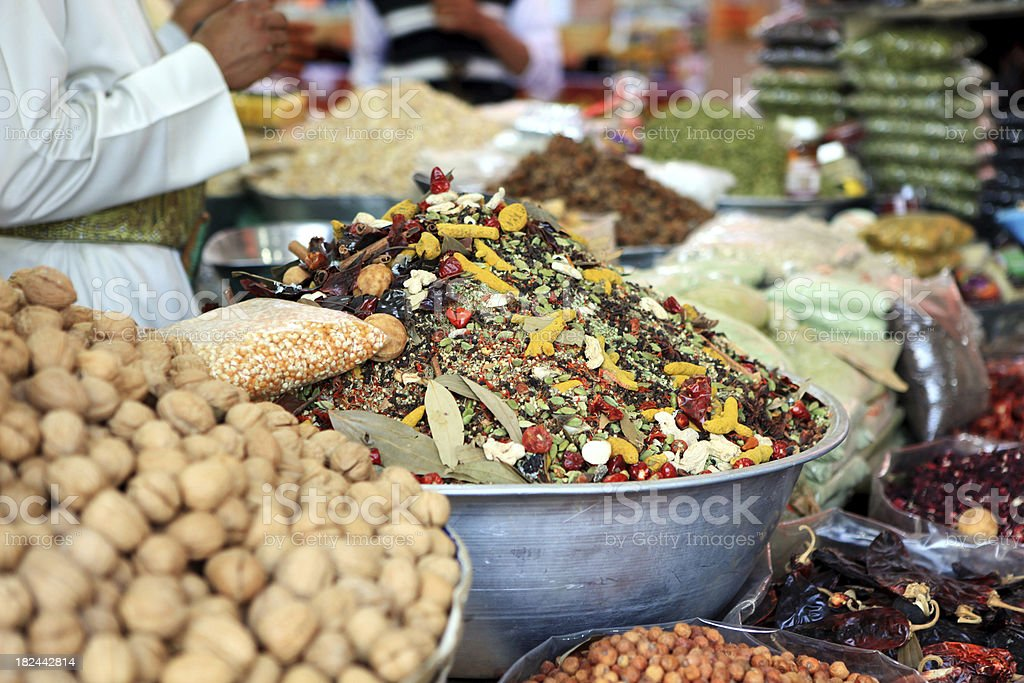 Spices and food souk stock photo