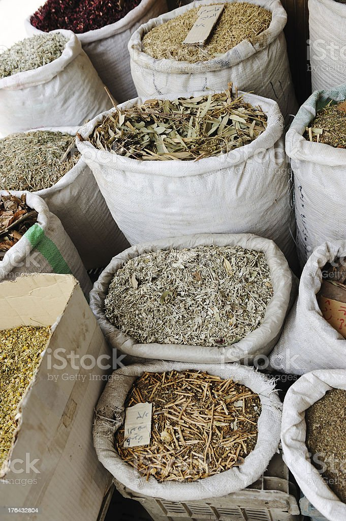 Spices and herbs at arabic market royalty-free stock photo