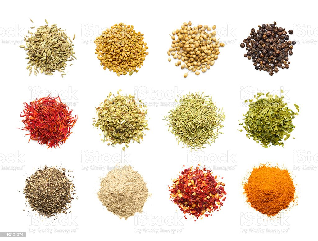 Spices and Herbs Isolated on White Background stock photo