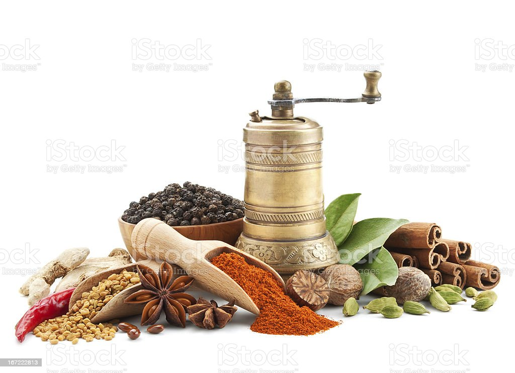spices and herbs isolated on white royalty-free stock photo