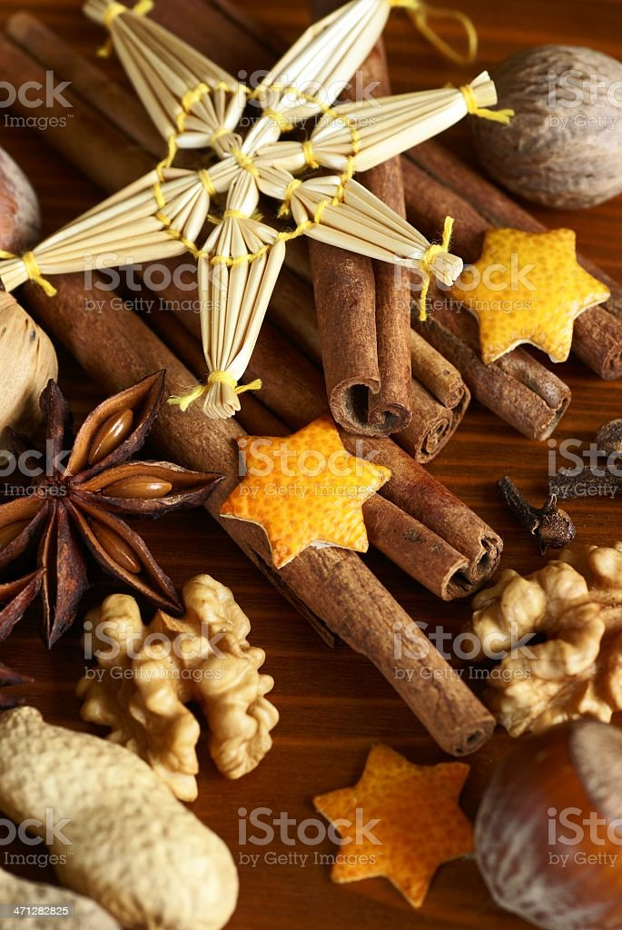 Spices and nuts royalty-free stock photo
