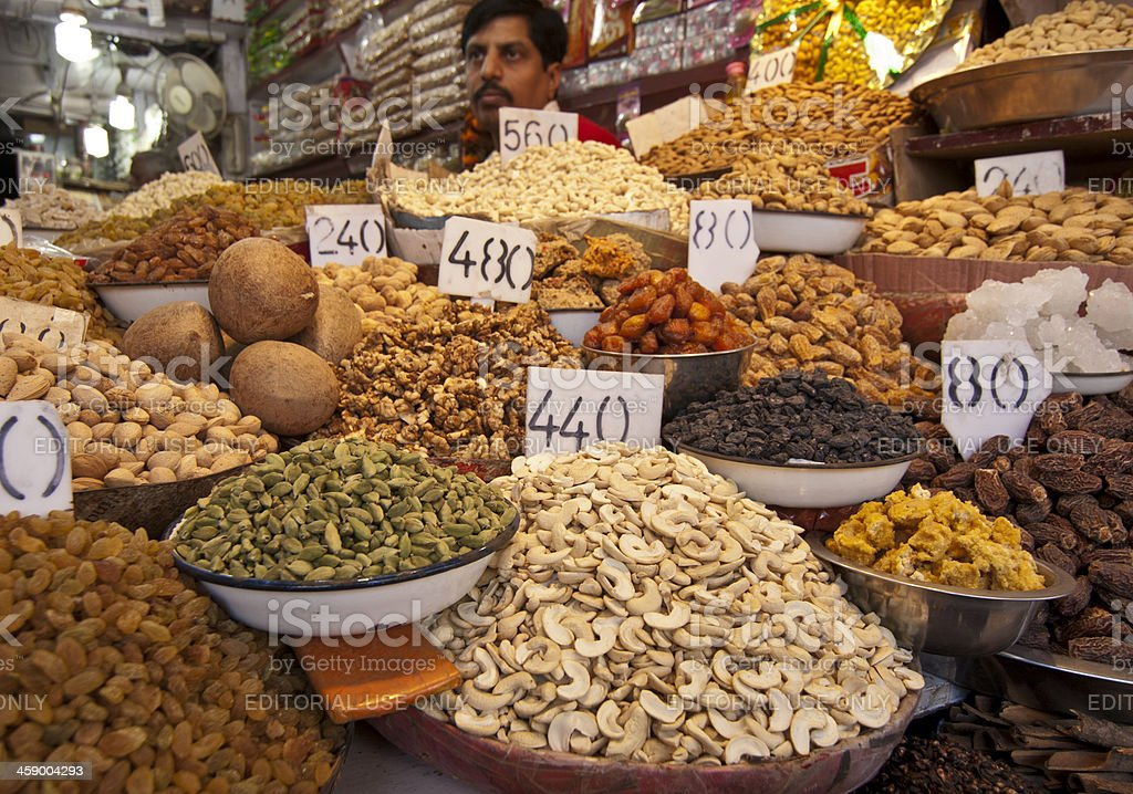 Spices and Nuts Vendor royalty-free stock photo
