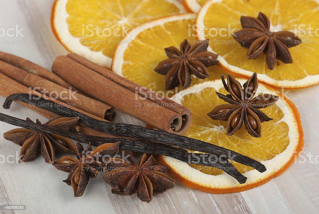 Especias y naranja foto de stock libre de derechos