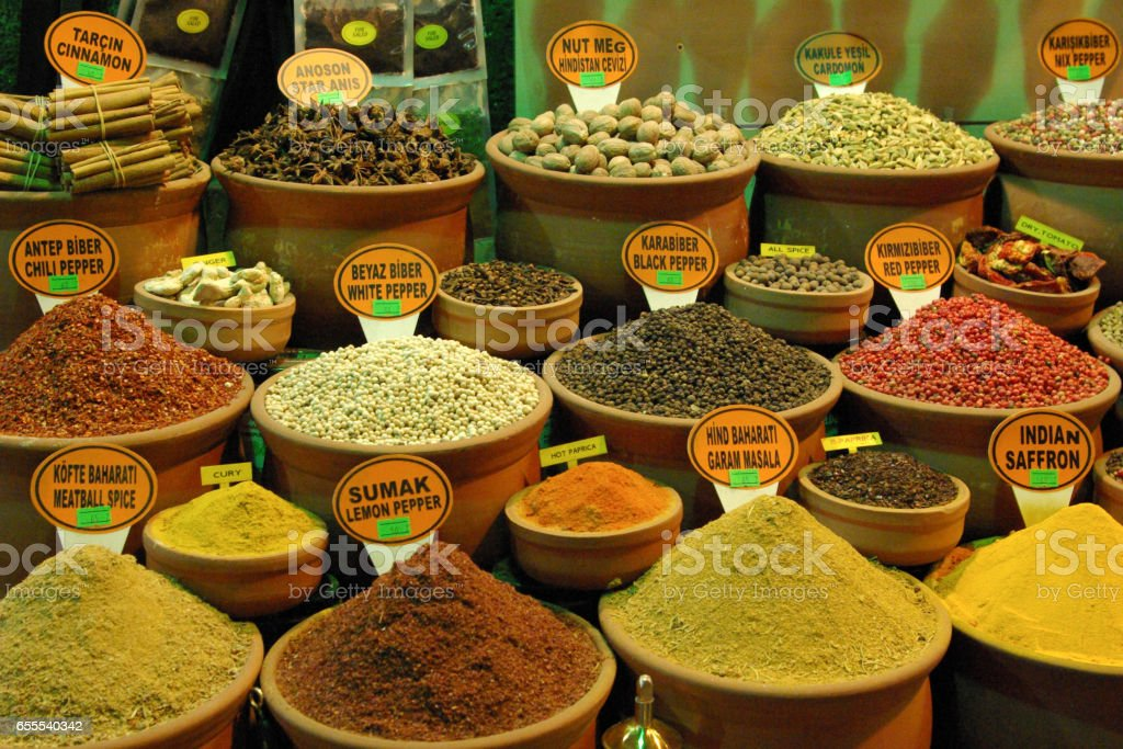 Spices and peppers at the Istanbul market stock photo