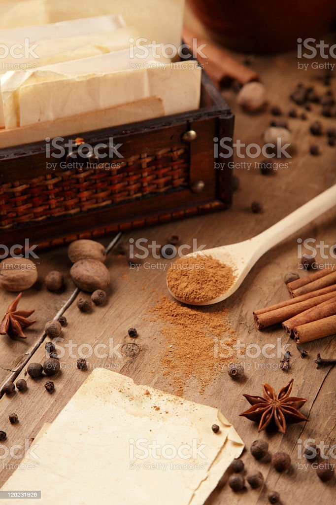 Spices and recipes stock photo