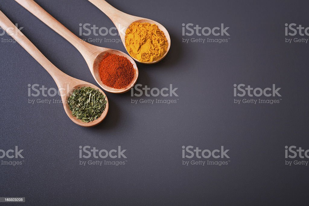 Spices and spoons royalty-free stock photo