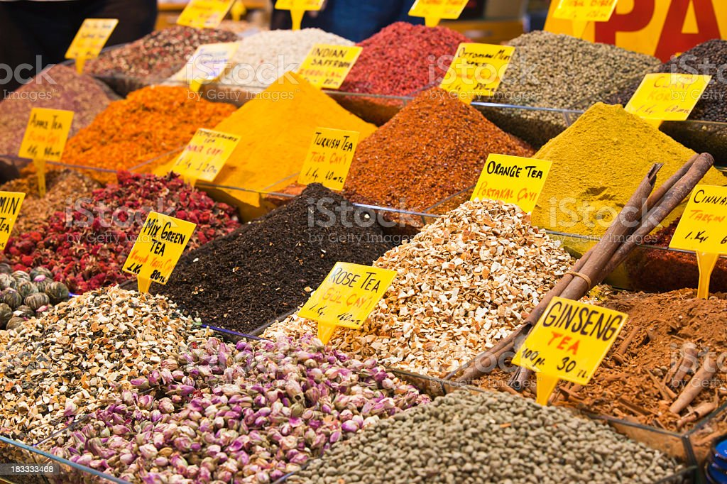 Spices and Tea on a market stall stock photo