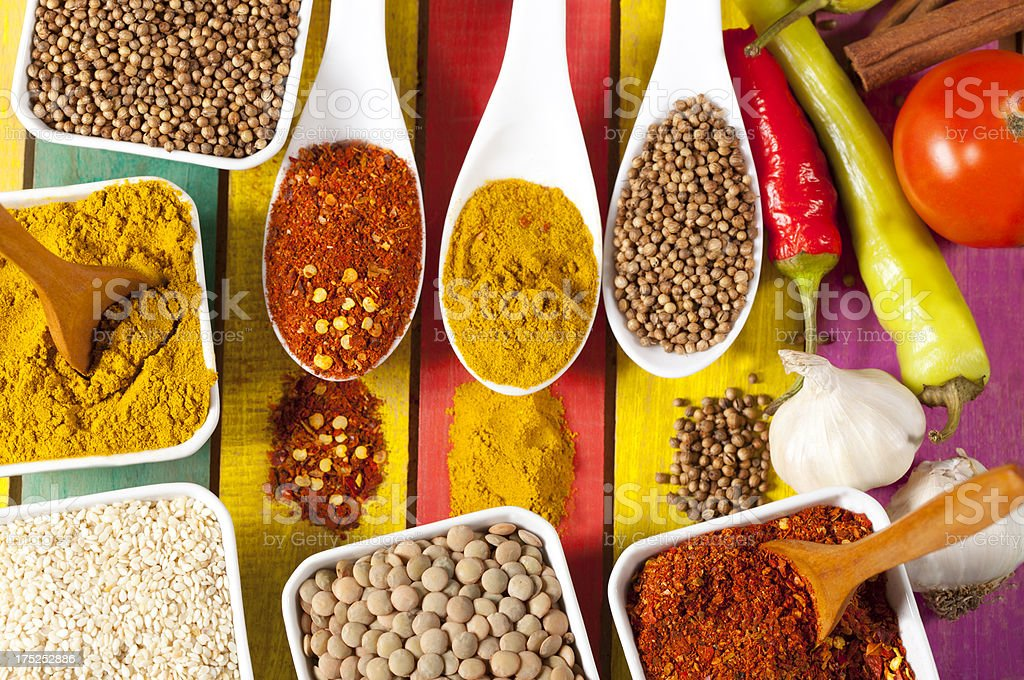Spices and vegetables royalty-free stock photo
