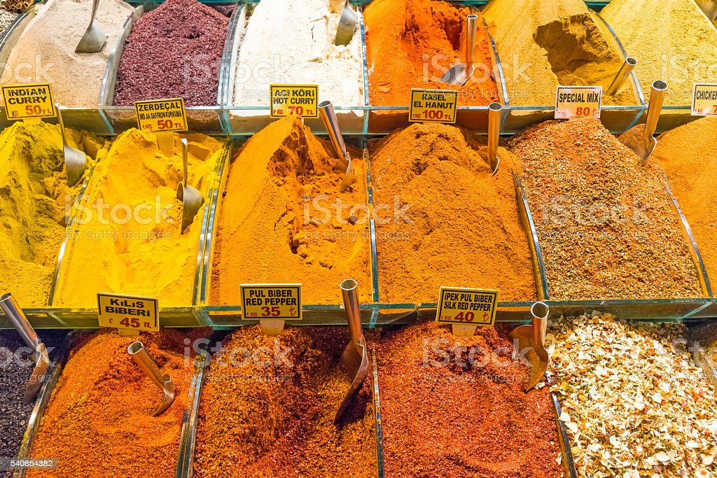 Spices at a market in Istanbul stock photo