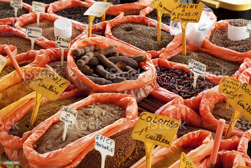 Spices at market stand, Guadeloupe stock photo