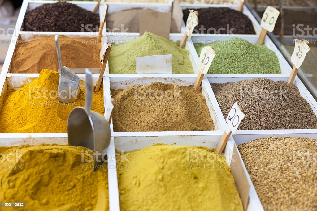 Spices at Souq Wagif, Doha stock photo