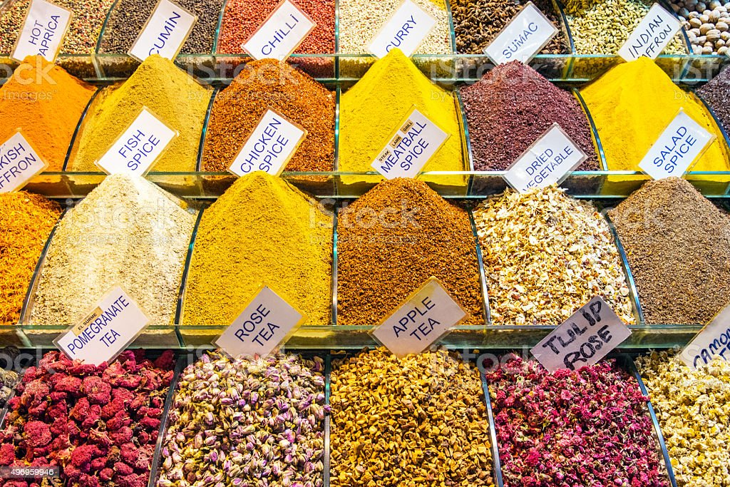 Spices at the spice market stock photo