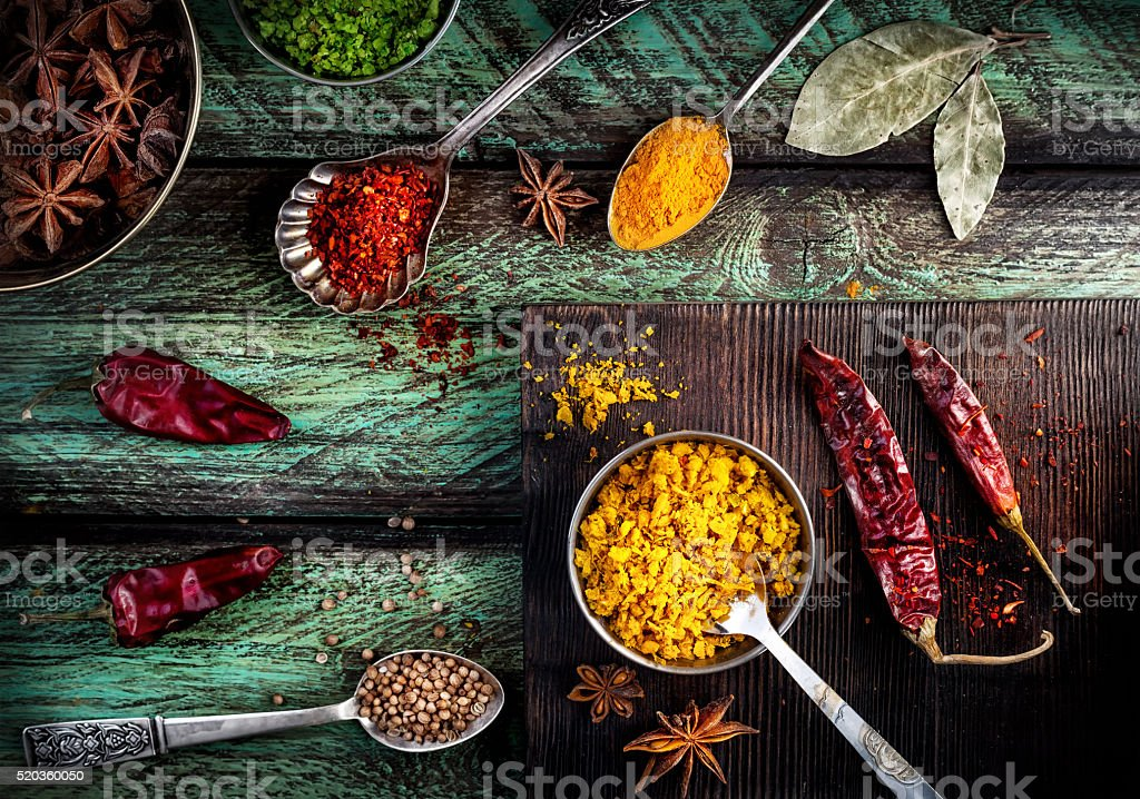 Spices at the table stock photo