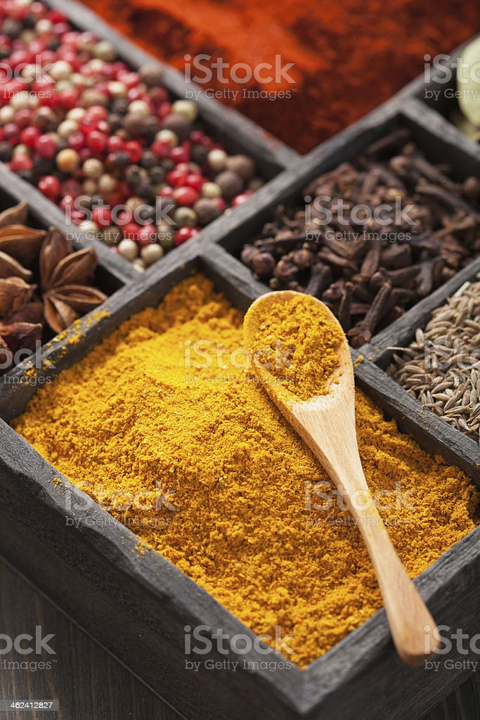 spices black pepper, paprika powder, curry, anise; clove; cumin royalty-free stock photo