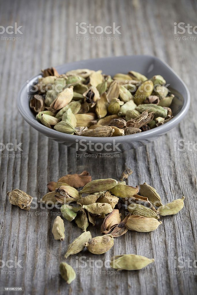 Spices - cardamom in a plate. royalty-free stock photo