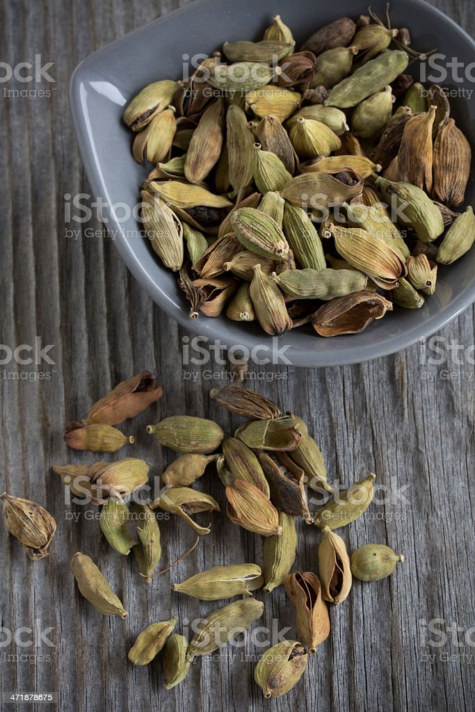 Spices - cardamom in a plate. stock photo