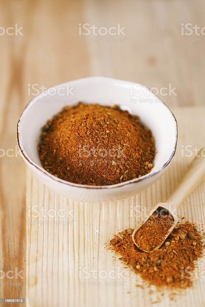spices Chicken BBQ Rub mix of Herbs, shallow dof stock photo