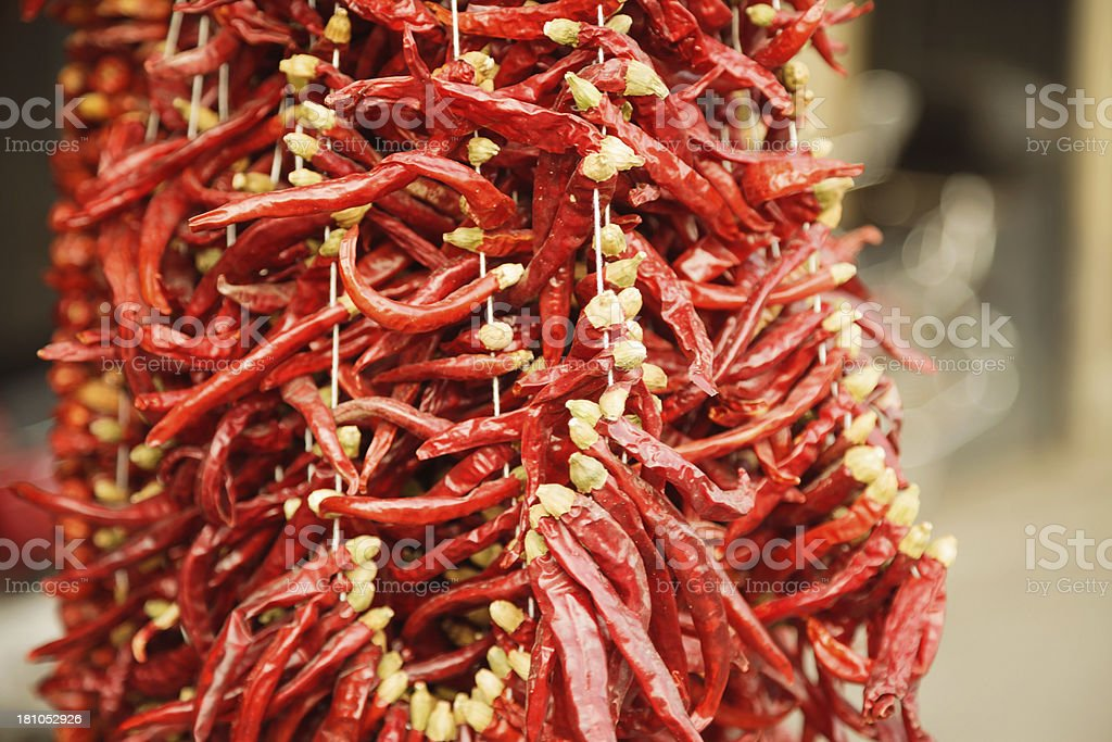 Spices - Dried red hot chilli chillies pepper stock photo