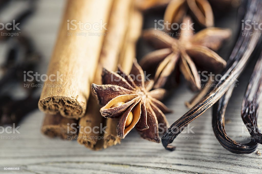 spices for christmas baking cinnamon anise vanilla clove stock photo