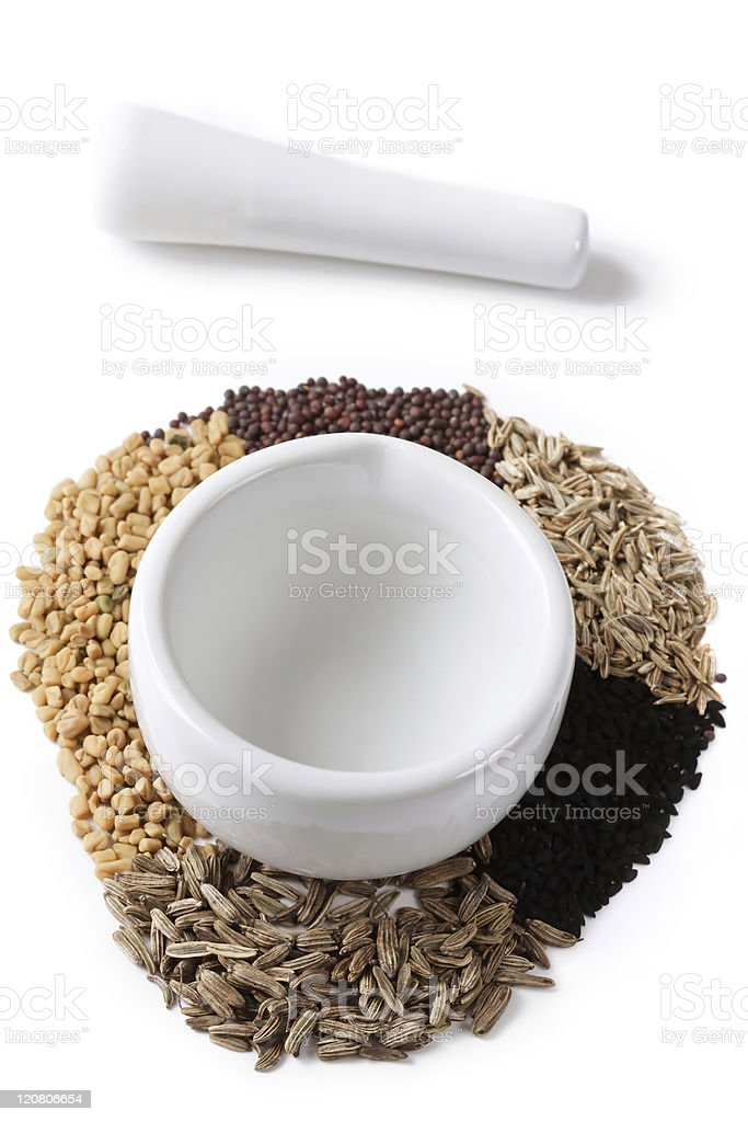 Spices for Panch Phoron stock photo