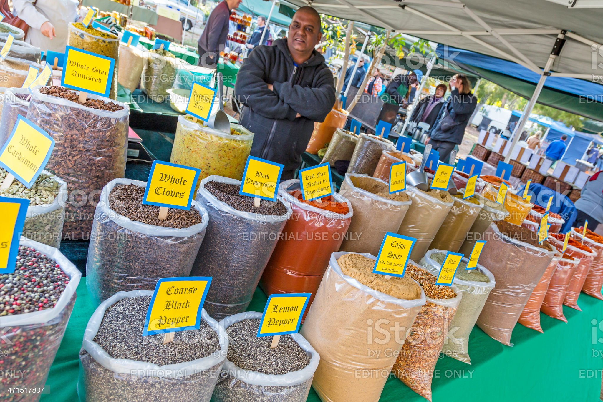 Spices for sale at the Irene Market royalty-free stock photo