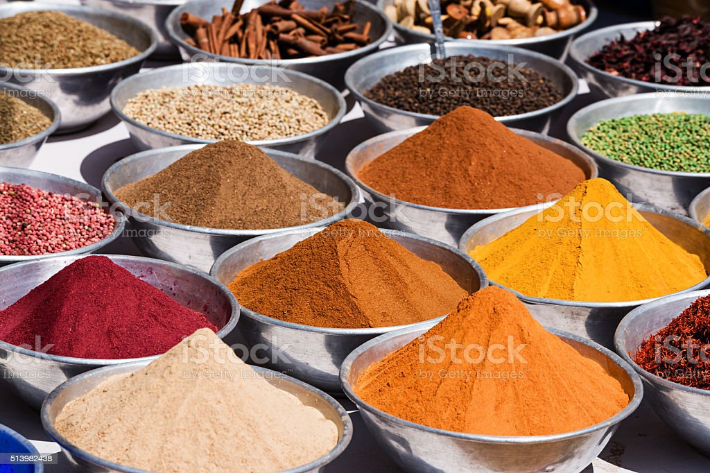 Spices for sale on local market stock photo