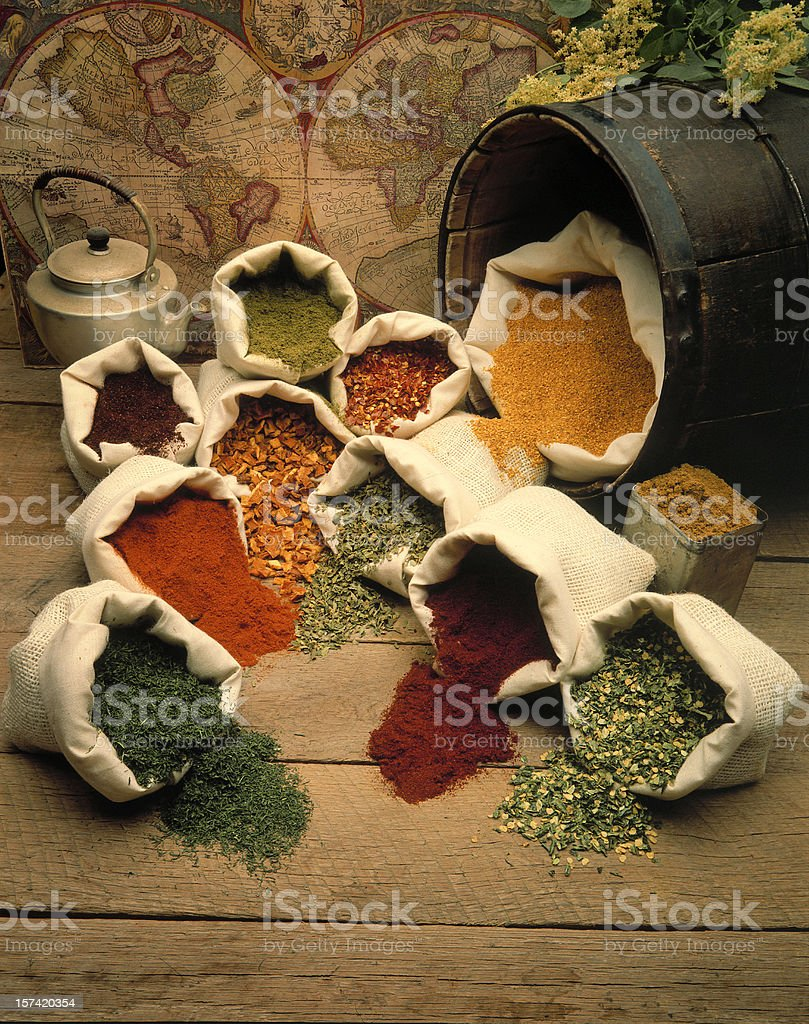 Spices from around the world stock photo