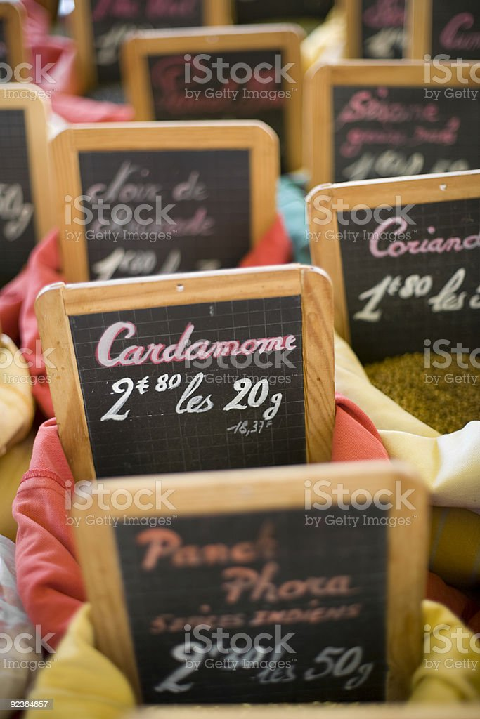 Spices - Handwritten Blackboard Signs At A Market In France royalty-free stock photo