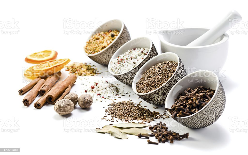 spices in a small ceramic cups royalty-free stock photo