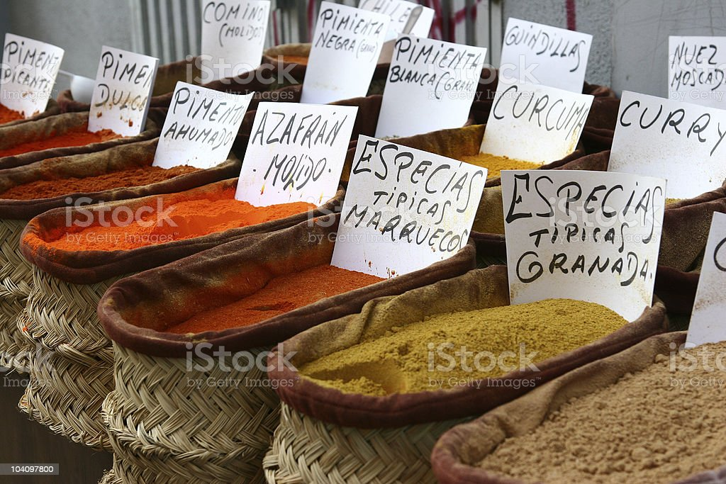 Spices in andalousia shop, Spain stock photo