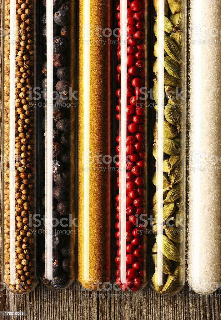 Spices in beakers close-up royalty-free stock photo