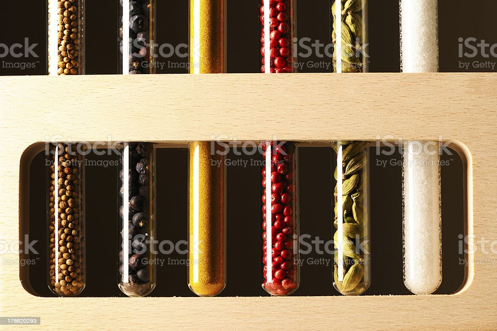 Spices in beakers royalty-free stock photo