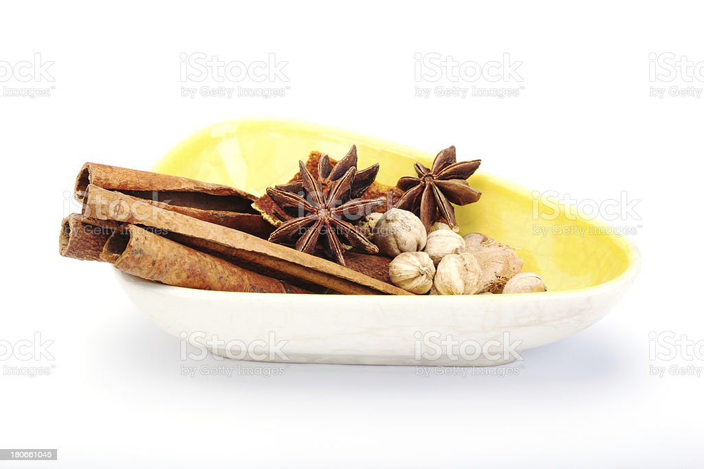 spices in bowl on white background royalty-free stock photo