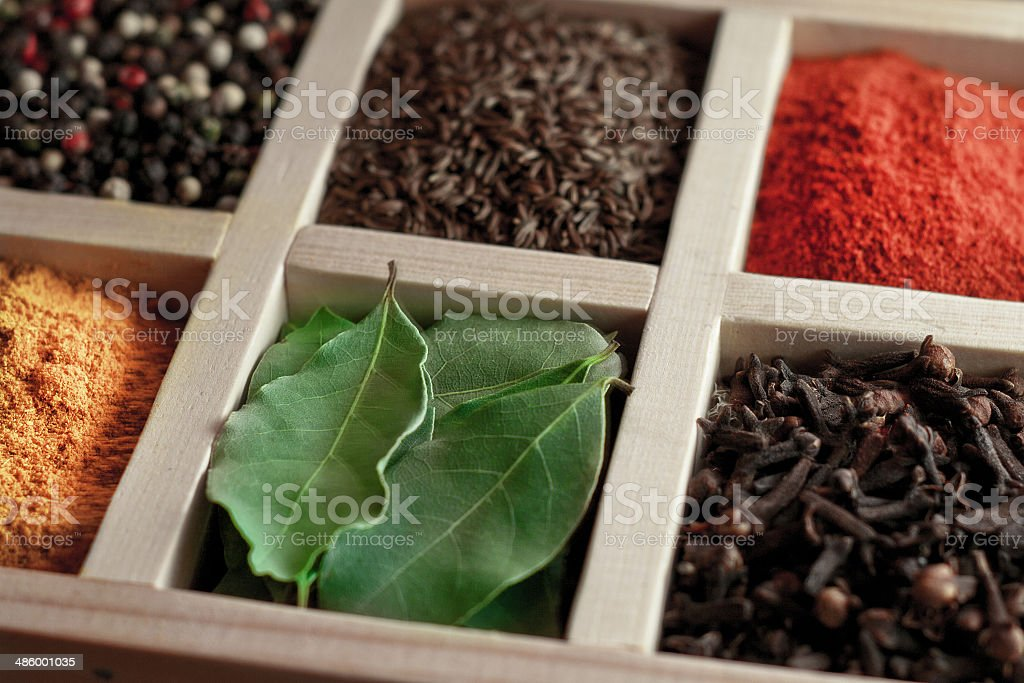 spices in box: cummin, pepper, laurer, curry, paprika, chili royalty-free stock photo