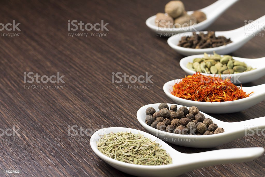 Spices in Ceramic Spoon royalty-free stock photo