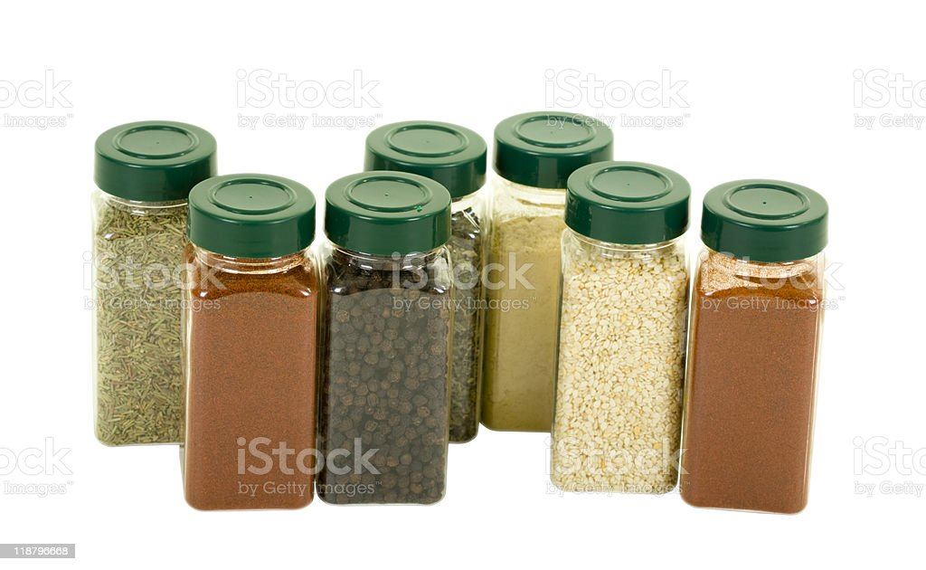 Spices in Plastic Containers stock photo