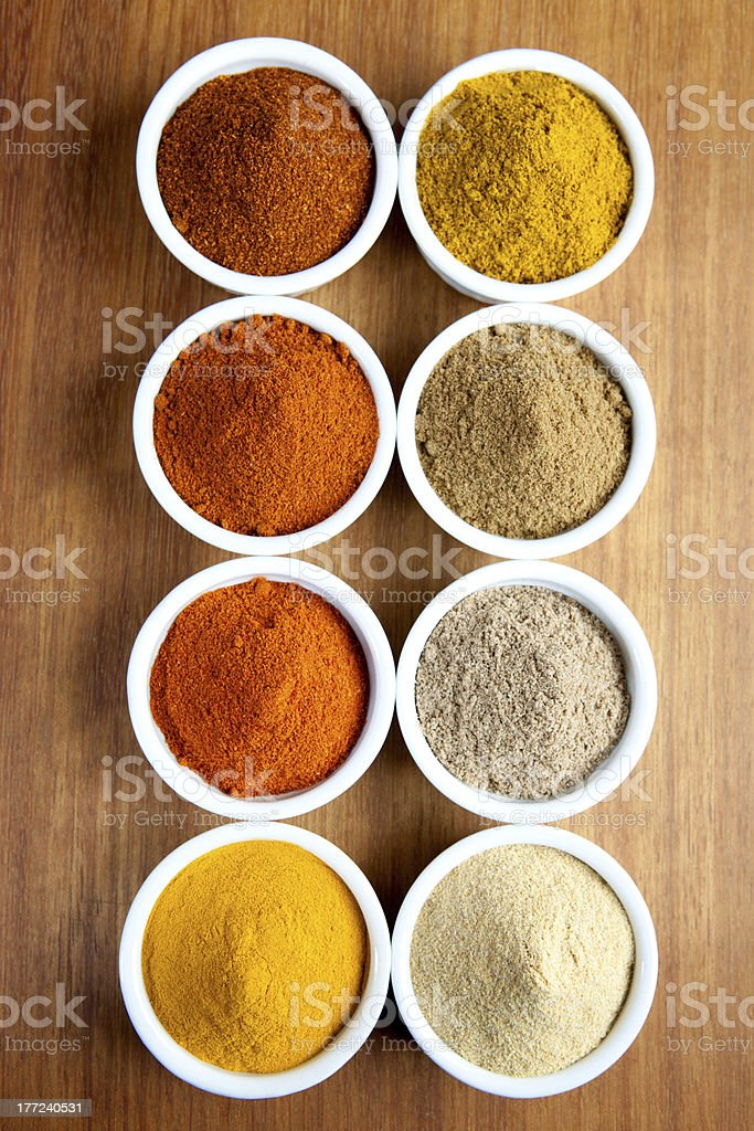 Spices in ramekins royalty-free stock photo